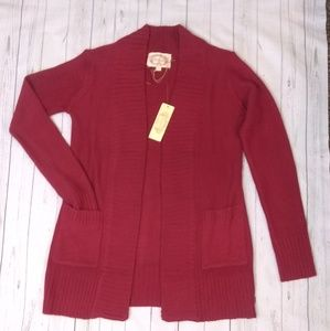 Red Knit Cardigan Sz Small NWT Front Pockets